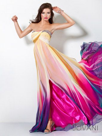 Jovani 3006 Chiffon multi colored strapless prom gown with crossover bust and a beaded embellished neckline.  $500.00