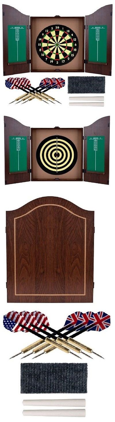 Dart Boards 72576: Dart Board And Cabinet Dartboard With Darts Scoreboard Set Wood Game Chalk Erase BUY IT NOW ONLY: $60.95