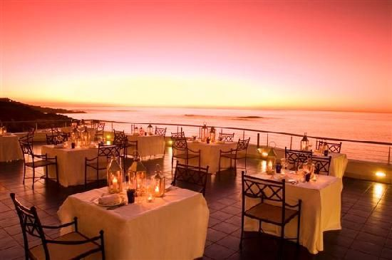 Azure Restaurant Terrace at sunset $$$