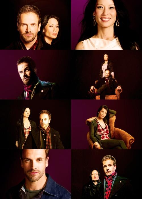 """Jonny Lee Miller as Sherlock Holmes and Lucy Liu as Dr. Watson in CBS's """"Elementary"""""""