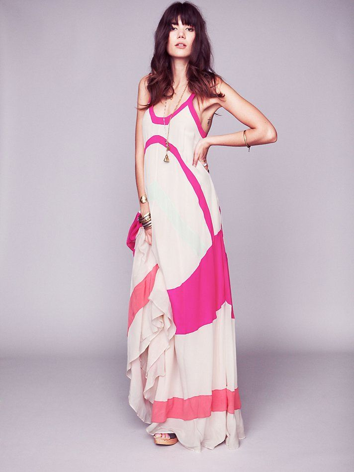 Free People Axel Colorblock Maxi Gown, $690.00 - i'd wear pink for this dress. but let's imagine the pinks as blacks or blues or greens. love it.