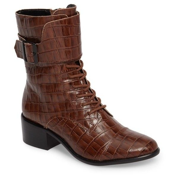 Women's M4D3 Graziella Water Resistant Bootie ($120) ❤ liked on Polyvore featuring shoes, boots, ankle booties, whiskey leather, wide ankle boots, leather lace up booties, leather lace up bootie, leather combat boots and ankle combat boots