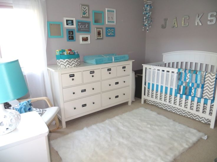 White grey and blue nursery baby room pinterest - Chambre taupe turquoise ...