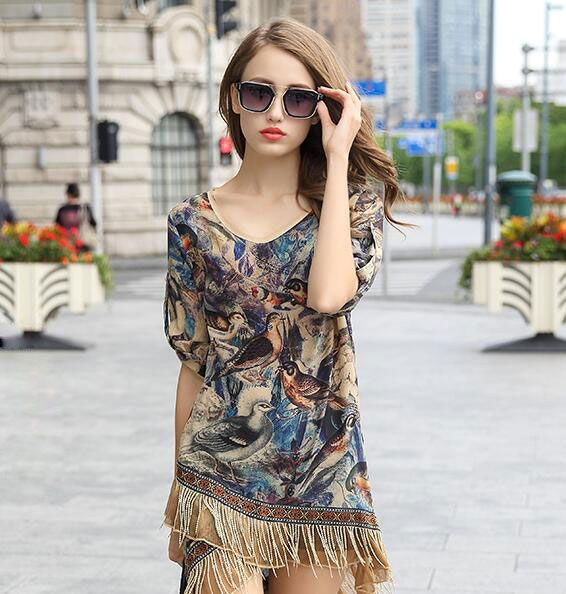 New Women Casual Basic Autumn Summer Lace Chiffon Blouse patchwork Top Shirt Tassel OL short sleeves printing Plus Size