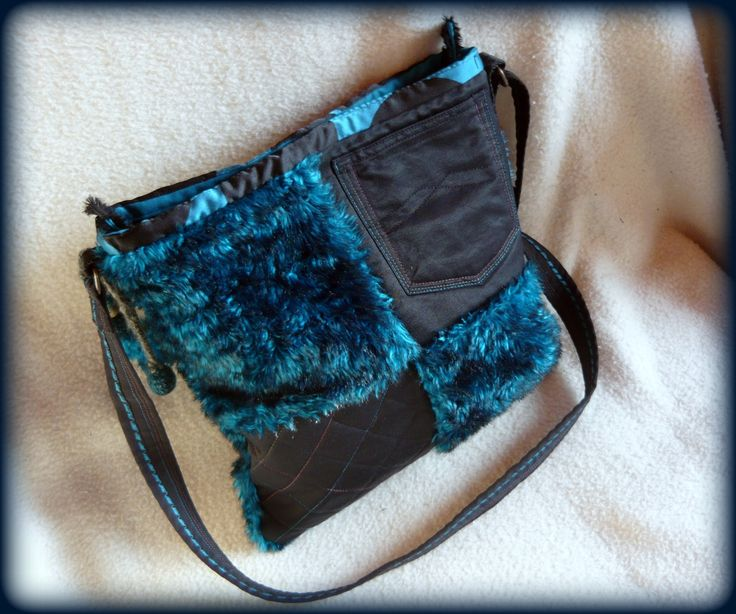 Handmade by Judy Majoros- Turquoise-black faux fur Bag