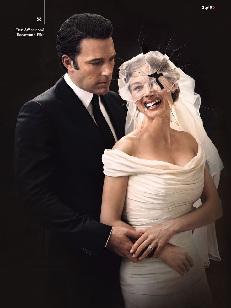 Photo of  Ben Affleck and Rosamund Pike in Entertainment Weekly for fans of Gone Girl. Affleck and Pike pose for a creepy wedding photo, featured in the August 22/29, 2014 issue