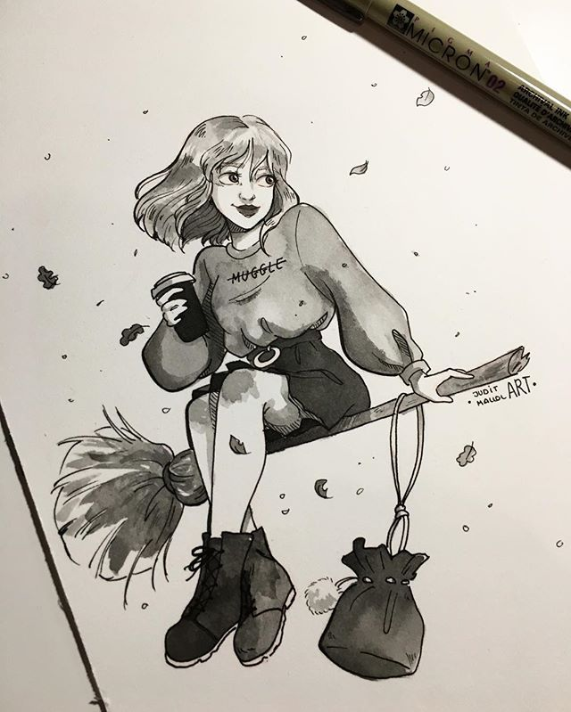 Instagram photo by juditmallolart - #inktober day 31!! ✨  It's over, I can't believe i've been able to complete it all... it's the first time! Thank you all so much, for loving these little ink illustrations and supporting me through the whole month ☺️ I'll keep making more, but just once in a while. Also, by the end of the week, all the inktobers will be avaiable on my redbubble