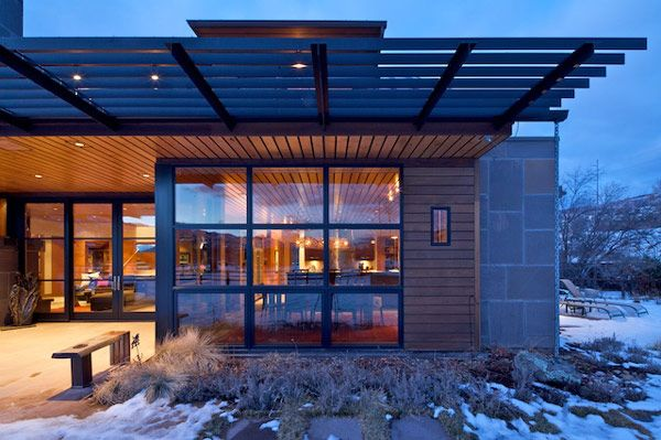Architecture, Exterior View Dining Room Wint Pergola Wooden Wall Ceiling Floor Window Glass Lighting Lamp Aspen Ski Hotels Resorts Colorado Vacation Contemporary Architecture Designs Snowmass Highlands Luxury Rentals Skiing Pass Travel: Charming, Picturesque Rural Villa Outside Aspen, Capturing Views of Ski Areas