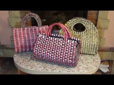 """Плетёная сумка """"полено"""" из бумажной лозы - YouTube"""