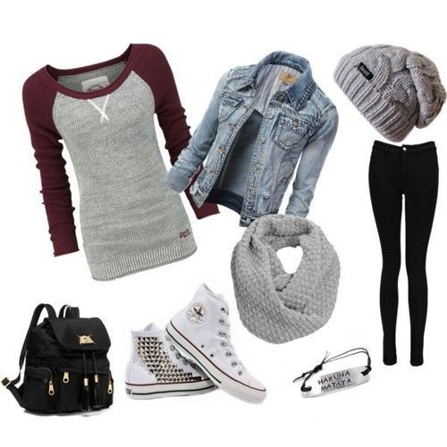 Black skinny jeans, 3/4 length top, Converse, chunky snood, loose beanie and a denim jacket