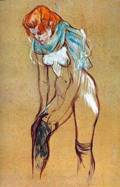 Zdjęcia na płótnie - Reprodukcje - Stockings by Toulouse-Lautrec -obrazy na ścianę