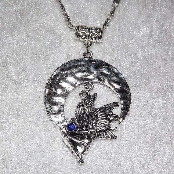 Necklace  Crescent Moon Faerie FREE UK P&P Pagan / by KasumiCrafts