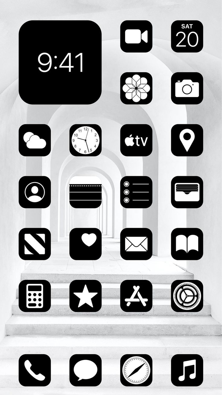 Aesthetic black ios 14 app icons pack 108 icons 1