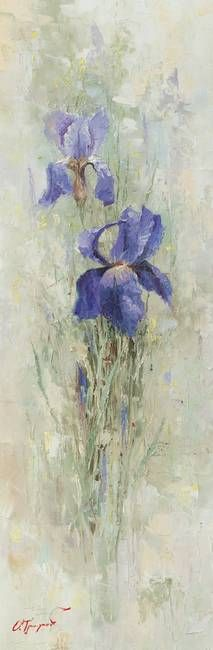 """""""Irises in the Garden"""" by Oleg Trofimoff: This high resolution picture (5079 pixels by 15465pixels) is perfect for printing original full-size (30cm by 90cm) and over size print or poster. Looks great paired with 'Roses in the Garden'."""