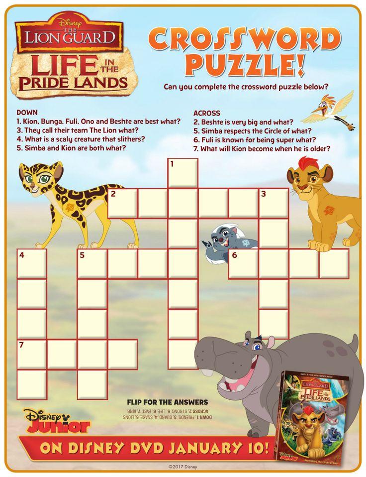 Disney Lion Guard Crossword Puzzle Disney printables