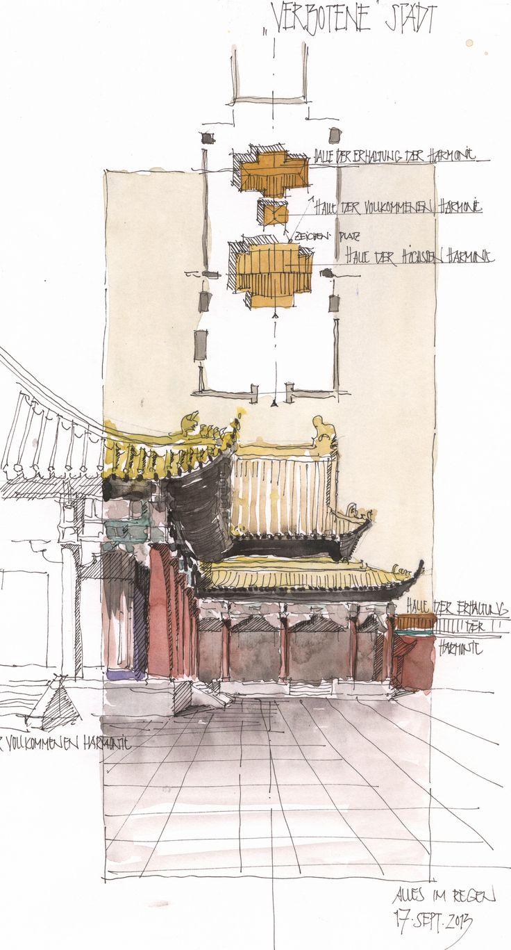 https://flic.kr/p/rezXzj | Beijing, Halle der Höchsten Harmonie, CHN | Skizze im Regen, 17.9.2013 in der verbotenen Stadt