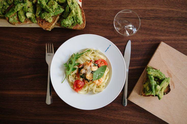 FvF Cooks Team Lunch: Avocado Bruschetta & Prawn Pasta