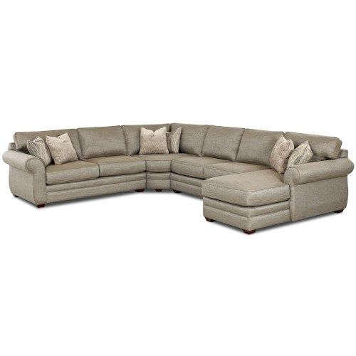 Klaussner Clanton Transitional Sectional Sofa with Right Chaise