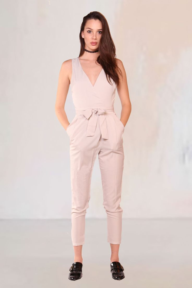 Lush Wrapped up in You Taupe Jumpsuit