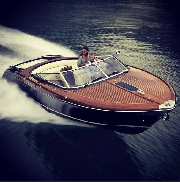 An old classic mahogany speed boat from the 50's. Timeless