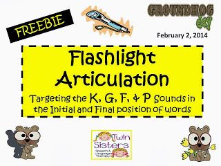Groundhog Day Flashlight Articulation Freebie Targeting The K, G, F & P Sounds - pinned by @PediaStaff – Please Visit  ht.ly/63sNt for all our pediatric therapy pins