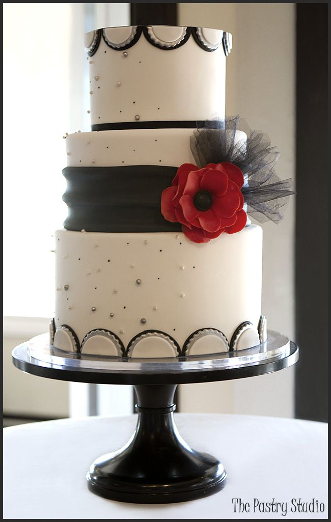 A Retro Black White Wedding Cake With An Pop Of Red By The Pastry Studio Daytona Beach Fl