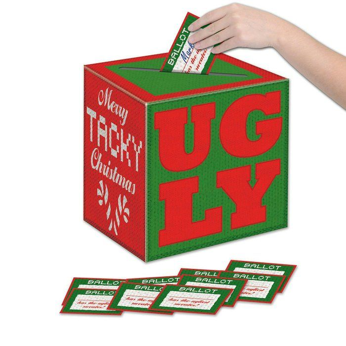 Ugly Christmas Sweater Party Contest Ballot Box With 10 Ballots