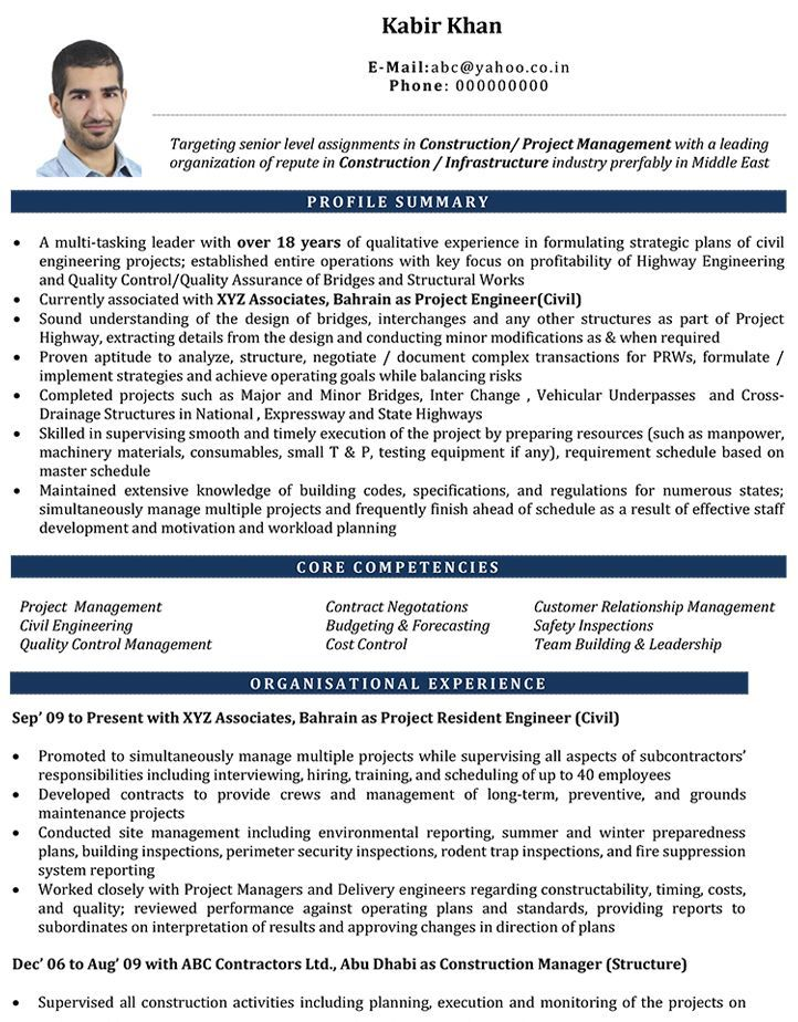 Resume Examples By Industry And Job Title Civil Engineer Resume