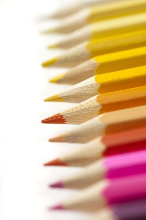 Free Stock Photo: Selective focus extreme close up view on bright pink, orange and yellow sharpened colored pencils - By freeimageslive contributor: gratuit