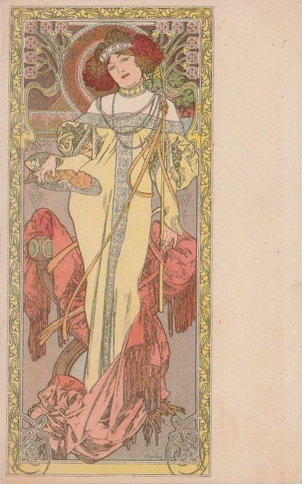 Carte Postale Ancienne de l'illustrateur Mucha : l'automne. Dos non divisé. Vers 1900. En vente ...