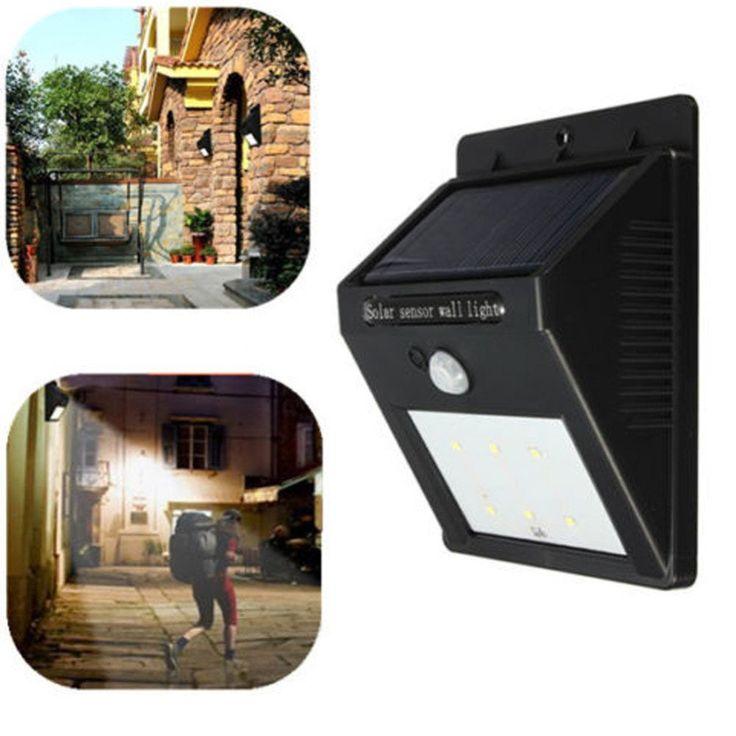 Solar Panel LED Flood Security Solar Garden Light PIR Motion Sensor 8 LEDs Path Wall Lamps Outdoor Emergency Waterproof Lamp