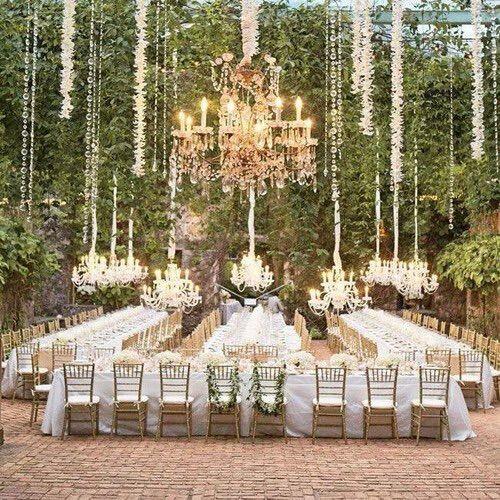 Image via We Heart It https://weheartit.com/entry/153676160 #chandelier #garden #glamorous #green #sparkle #wedding #white