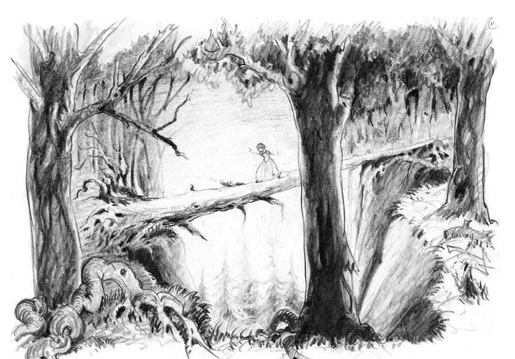 Concept drawing of Snow White in the forest, by Ferdinand Horvath (1937). | 12 Stunning Never-Released Images From Disney's Animation Studio