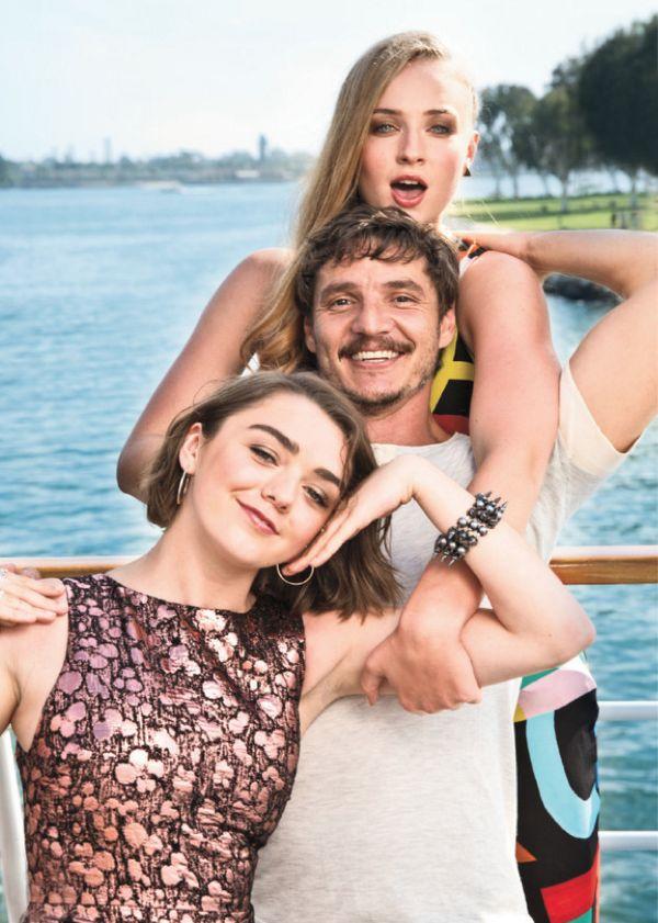 Arya, Oberyn, Sansa   (shot in this video https://www.youtube.com/watch?v=P1EF1avbsJs)