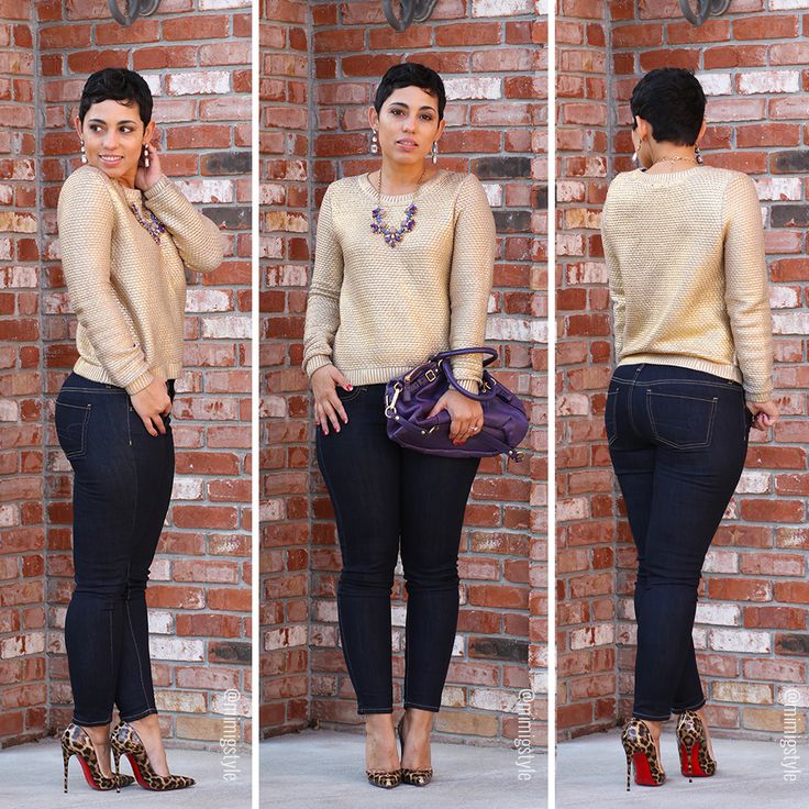 #OOTD Gold Sweater + Leopard Pumps - #MimiGStyle