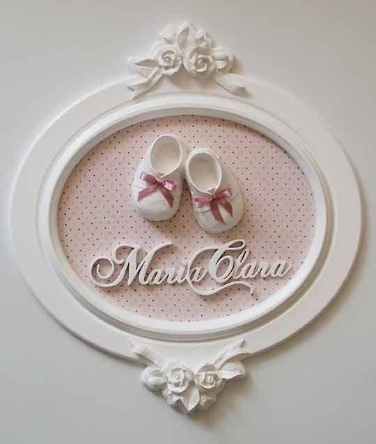 Enfeite Porta Maternidade, Oval, Sapatinho