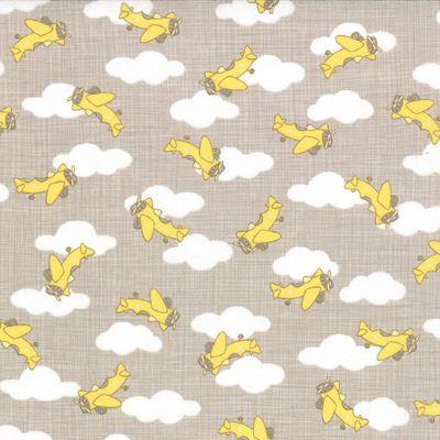 Story Book - Airplanes in Stone Banana (13115 14) // Juberry Fabrics
