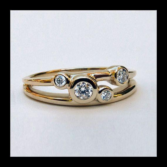 14k Gold Diamond Ring, 4 Stone Gold Ring, Multi Stone Gold Wedding Ring