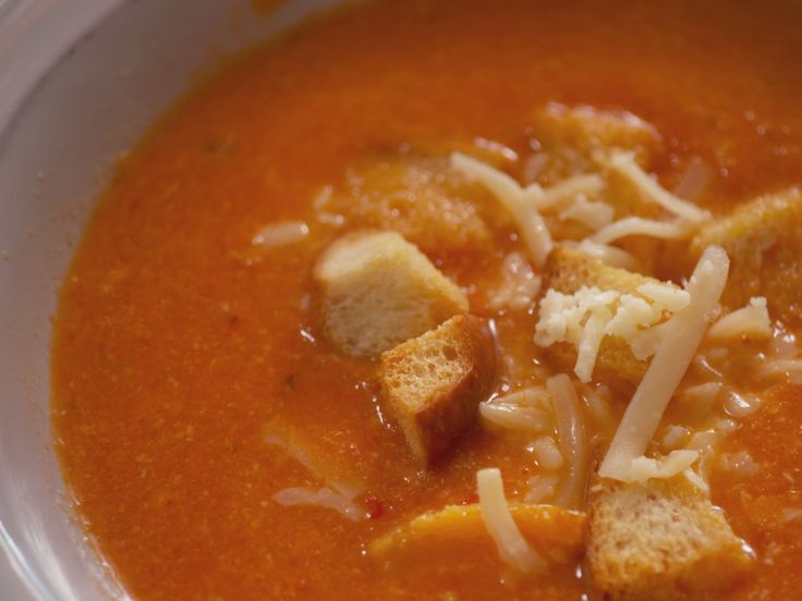 Spicy Tomato and Cheddar Soup recipe from Nancy Fuller via Food Network