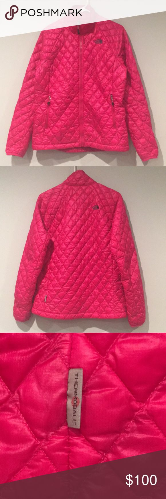 The North Face Thermoball Jacket Very Good Condition Some Wear On Sleeve Cuffs And Light Wear Hot Pink M (Womens) The North Face Jackets & Coats Puffers