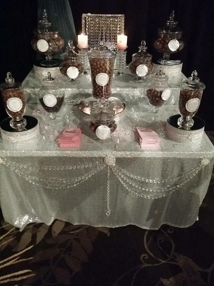 Bling candy bar. Diamanté mirrored too,risers for candy jars,  Crystal draping, glitter, sequins, brooches