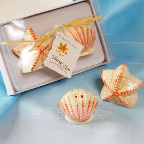Beach Theme Summer Salt & Pepper Shakers Ceramic Tag Wedding Bridal Shower Shell & Star (Set of 2 pieces) Free matching