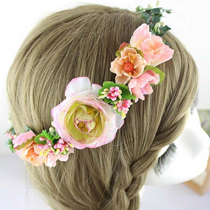 Vintage Wedding Bridal Artificial Flowers Berries Rattan Crown Floral Halo Headpiece Pretty Decorative Flower Girl Hair Accessories Headdress Headbands Crowns Head Wreath Garland Orange Tone -- Click image to review more details.