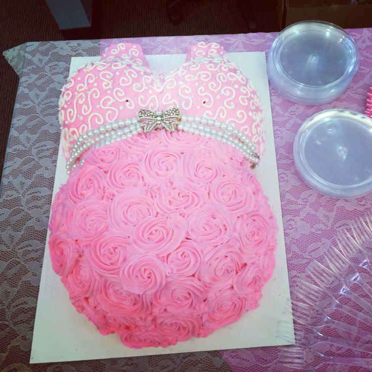 Baby shower pregnant belly bump cake with roses and pearls for a baby girl :)