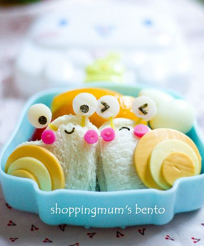Bento snails, I do not have enough time in my day to do this but it is sure cute!