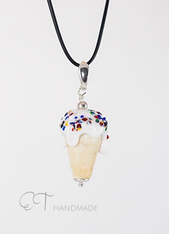 Ice cream cone handmade Murano glass and di EThandmadeshop su Etsy