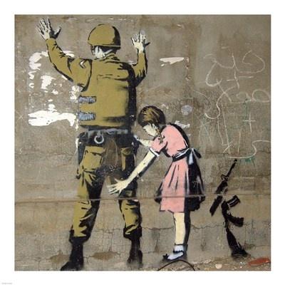 Bethlehem Wall Graffiti Art Print by Banksy