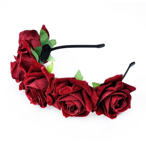 DreamLily Rose Flower Crown Wedding Festival Headband Hair Garland... ($9.99) ❤ liked on Polyvore featuring accessories, hair accessories, hair band accessories, head wrap headband, floral garland headband, rose garland and floral crown