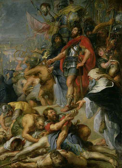 The Triumph Of Judas Maccabeus by Peter Paul Rubens -  In 167 BC Mattathias, together with his sons Judah, Eleazar, Simon, John, and Jonathan, started a revolt against the Seleucid ruler Antiochus IV Epiphanes, who since 175 BC had issued decrees that forbade Jewish religious practices. After Mattathias's death in 166 BC, Judah assumed leadership of the revolt in accordance with the deathbed disposition of his father. The First Book of Maccabees[1] praises Judah's valor and military…