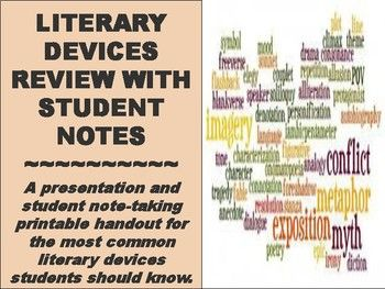 A presentation and student note-taking printable handout for the most common literary devices students should know. Includes definitions and examples of these literary devices: Universal Literature, Archetypal Literature, Fiction, Non-fiction, Theme, Setting,  Conflict, Protagonist, Antagonist, Characterization, Diction, Denotation/Connotation, Mood, Tone, Purpose, Dialogue, Symbol, Imagery, Irony, Simile, Metaphor, Allusion, Personification, Foreshadowing, Motif, Narrator, Perspective…